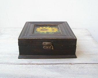 Sunflower Brown Wooden Big Treasure Box, Vintage Folk Square Storage Wood Box, Shabby Cottage Photo Desk Organizer, Rustic Decor Woman Gift
