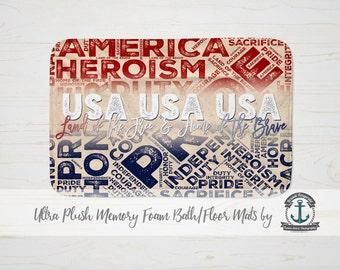 "Plush Bath Mat 34x21"" - USA Land of the Free Patriotic Military Veteran - Plush Memory Foam + Mold Resistant"