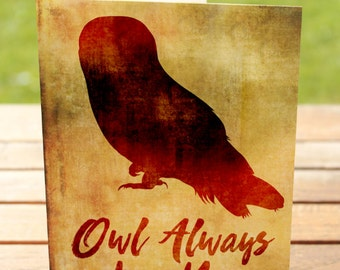 Owl Always Love You, Love Card   Romantic Rustic Woodland Owl   A7 5x7 Folded - Blank Inside - Wholesale Available