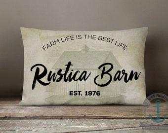 "Rustica Barn Lumbar Pillow | Country Farmhouse Chic Decor | 12 x 18"" Long Oblong Pillow"