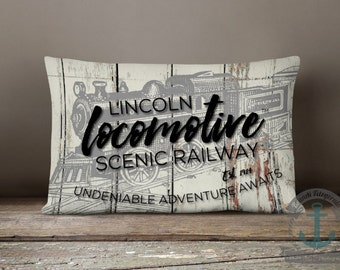 "Lincoln Locomotive Scenic Railway Lumbar Pillow | Distressed Look Railroad Engineer Decor | 14 x 20"" Long Oblong Pillow"