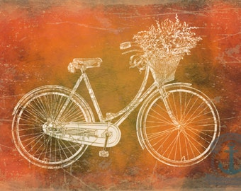 Key West in a Bike Basket Vintage Bike with Flowers Product Options and Pricing via Dropdown Menu