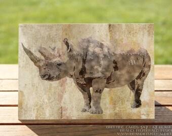 Rhino Greeting Card | Safari Animal Rhino with Horns Blank Card | A7 5x7 Folded - Blank Inside - Wholesale Available