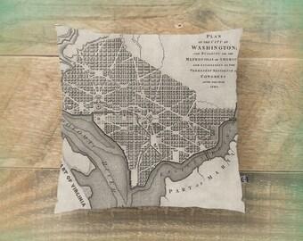 Washington DC Throw Pillow Vintage City Plan Map Old Chic Home Decor