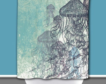 Jellyfish Shower Curtain: Nautical Sea life Water Inspired | 12 Eyelet/Button Hole | Size and Pricing via Dropdown