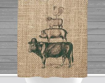 Farm House Shower Curtain: Rustic Farm Animals Green Americana   Made in the USA   12 Hole Fabric Bathroom Decor