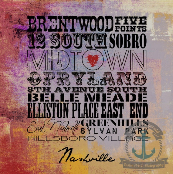 Nashville Neighborhoods | Nashville Tennessee Typography City Map Decor | At Checkout, Choose Lustre Print or Gallery Wrapped Canvas
