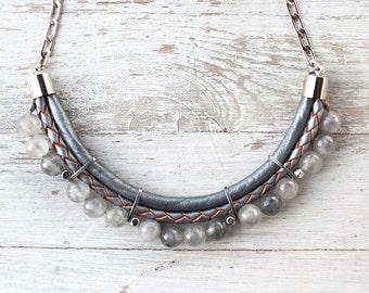 Meteorites dark grey colors quartz Necklace by Pardes