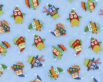 Holiday Owls on Sky Blue From Timeless Treasure's Snow Day Collection