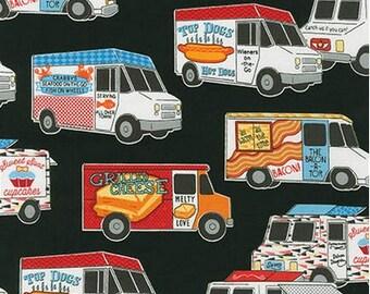 Food Trucks on Black from Robert Kaufman's Food Trucks Collection by Pela Studio
