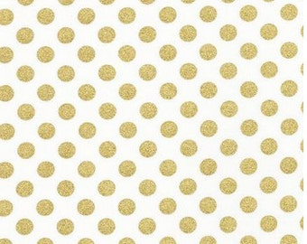 Spot On Metallic Gold Dots on White (Blanc) From Robert Kaufman