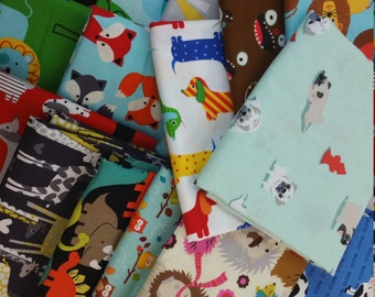 Boy Bundle #3 - Animals - Fabric Scrap Pack