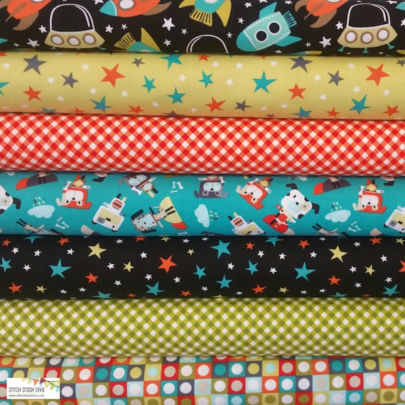 Retro space ships bundle 7 fabrics for Vintage space fabric