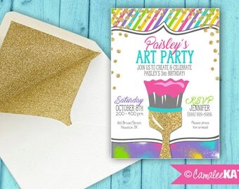 Art Paint Party Birthday Invitation - Colorful, gold glitter - personalized with OR without photo - Printable file or Printed available