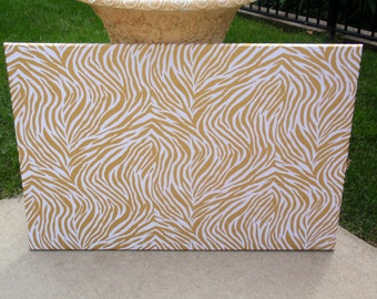 Message Board PinBoard Corkboard Cork Bulletin Fabric Message Dream Pin Board 23x35 size with Modern Metallic Gold Zebra Print Fabric