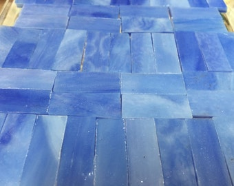 "SUMMER SKY BLUE - 3/8"" X 1"" - Stained Glass Mosaic Tile Borders"