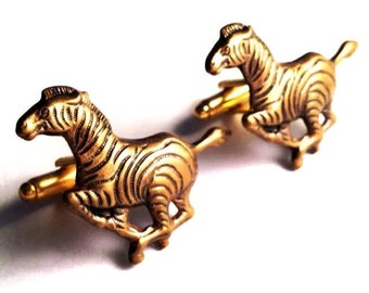 SALE Brass Zebra Cufflinks, Mens Handcrafted African Stripes Animal Cuff Links, Guys Prom Semi-Formal, Groom Wedding Man's Gift