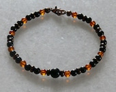 Amber shungite bracelet with Jet and Black tourmaline for men or women