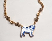 Porcelain Pendant Gold Lustre Blue Pug Necklace / FREE Shipping within the UK