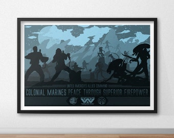 Colonial Marines - 12 by 18 Inch Print - Aliens - Xenomorph
