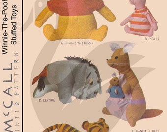 Reproduction Winnie the Pooh & Friends Stuffed Toys Sewing Pattern M8087