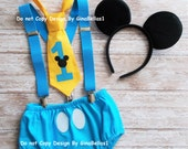 Mickey Mouse Birthday cake smash outfit costume ears suspenders baby blue I am one diaper cover tie 12 18 24 toddler Ready To Ship