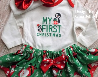Christmas outfit first dress tutu skirt Santa Baby Pingwin Rudolph reindeer snowman bodysuit messy headband bow NB 3 6 9 12 toddler SALE