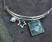 "Custom Order- per text   One bangle and 4 photos plus ""30"" and pearl    Photo Bangle, Bracelet, Photo Charm Bangle"
