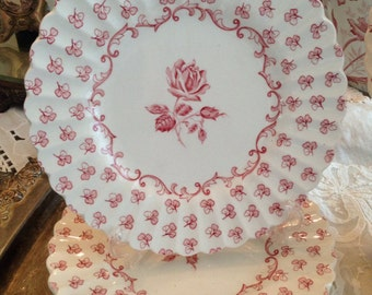 "Vintage JG Meakin 'Chantilly' Dessert Plates - Set of Five 7"" Plates with Roses"