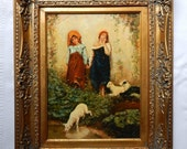 European Style Portrait Oil Painting Art on Wood Panel Two Bohemian Women and Sheep Gold Frame