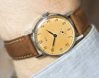 Sandy face men's watch ZIM, retro dress watch him, Soviet classic watch unisex gift, tomboy watch mechanical gift, premium leather strap new