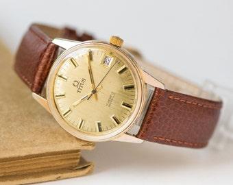 Men's watch Solvil Et Titus Geneve, gold plated Swiss watch him 60s, classy men watch shockproof, dress watch him, premium leather strap new