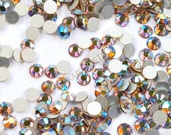 50 pcs Swarovski Crystal Flatbacks Light Colorado Topaz AB 5ss 7ss or 12ss  2028 Xilion SS12