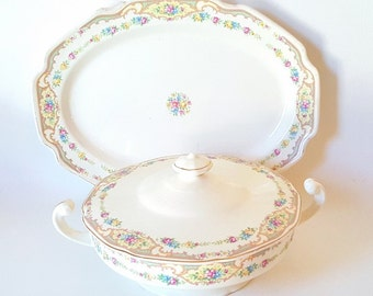 Vintage Dinnerware China Large Platter Covered Casserole Dish Pink Yellow Green Floral Platter Large Vegetable Bowl Dining Serving China