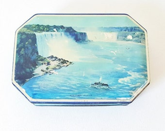 Vintage Tin Candy Cookie Tin Box Niagra Falls Scene Tin Box Vintage Candy Tin Box Tin  Cottage Decor Storage Work  Box Craft Sewing Storage