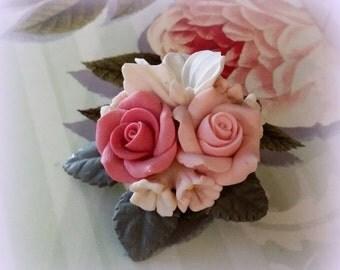 FALL SALE English Garden Brooch - Vintage Flower Brooch - Sweet, Sweet, Sweet
