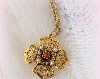 FALL SALE Vintage Fall Pendant Necklace - Filigree Gold Tone Petals - Faux Pearls - Amber Stone