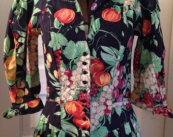 Beautiful Fruits and Flowers Pattern Vintage Dress - Size Small