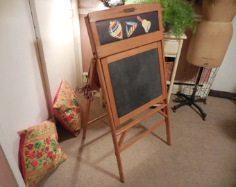 1940's Childs Folding Easel Chalkboard Desk with scroll pictures and light