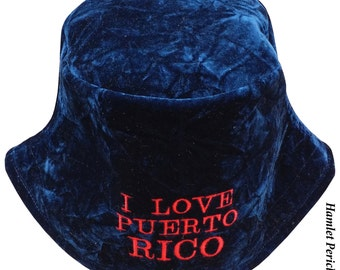 Blue Crushed Velvet Bucket Hat | I Love Puerto Rico Embroidered Hat | Boricua | Puerto Rico Crushed Velvet Hat by Hamlet Pericles | HP31016b