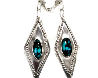 Genuine Turquoise & Sterling Silver Dangle earrings, Long drop marquis shape, 2 1/4 in., lever-back, SW Style, December Birthstone,