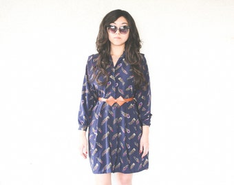 FEATHER PRINT Vintage 80's Semi-Sheer Navy Long Sleeve Shirt Mini Dress - Large