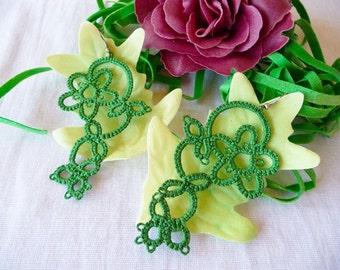 Tatting earrings green - handmade jewelry - lace earrings - Bridesmaid - Wedding -gift for birthday