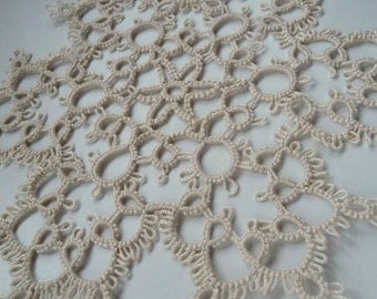 Tatted Lace Snowflake - Ivory Doily -Home decor - Housewarming - tatting - gift for her - wedding - table decor-Christmas in july