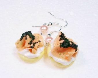 Smoked Salmon Blini Earrings. Polymer Clay.