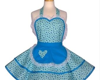 Blue Polka Dot Apron -Ruffled Pinup Womens Flirty Sweetheart Apron