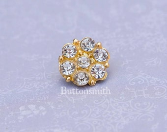 """5 to 20 Pieces of Crystal Rhinestone Buttons """"Isabel"""" (15mm) RS-013 in gold finish - Perfect for wedding dresses hair pins embellishments"""