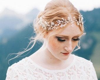 """Wedding Hair Accessory, Beaded Headband, Bridal Headband, Crystal Halo, Boho Bridal Crown """"Valentina"""""""