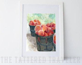 Peachy Keen | Peaches in a Basket Acrylic Painting | Giclee Art Print
