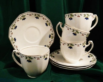 Vintage Tea Cup Set  1930's Alfred Meakin Set of 4 Teacup and Saucer